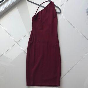 Burgundy mini dress with beautiful back detail